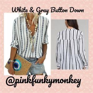 Tops - New White Black Striped Button Down